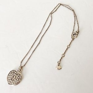 Fossil silver heart necklace